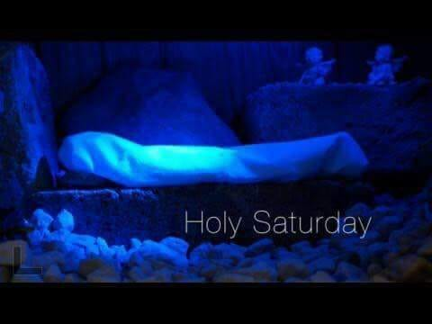 """body wrecked in grave clothes, lying in a tomb, with the words, """"and on the seventh day, God rested."""""""