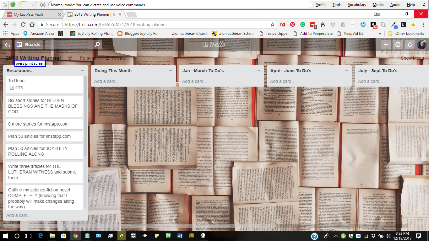 This is a screenshot of my writing goals for the year. The background shows open books all piled together. The first box shows RESOLUTIONS.