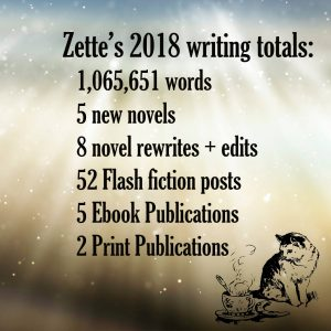 Lazette Gifford's 2018 writing accomplishments including almost 2 million words