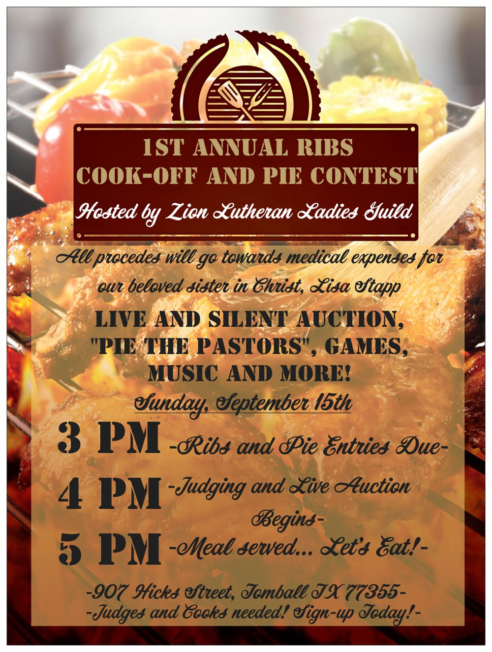 Zion Fundraiser Annual Ribs Cookoff and Pie Contest Hosted by Zion Lutheran Church, Tomball, TX