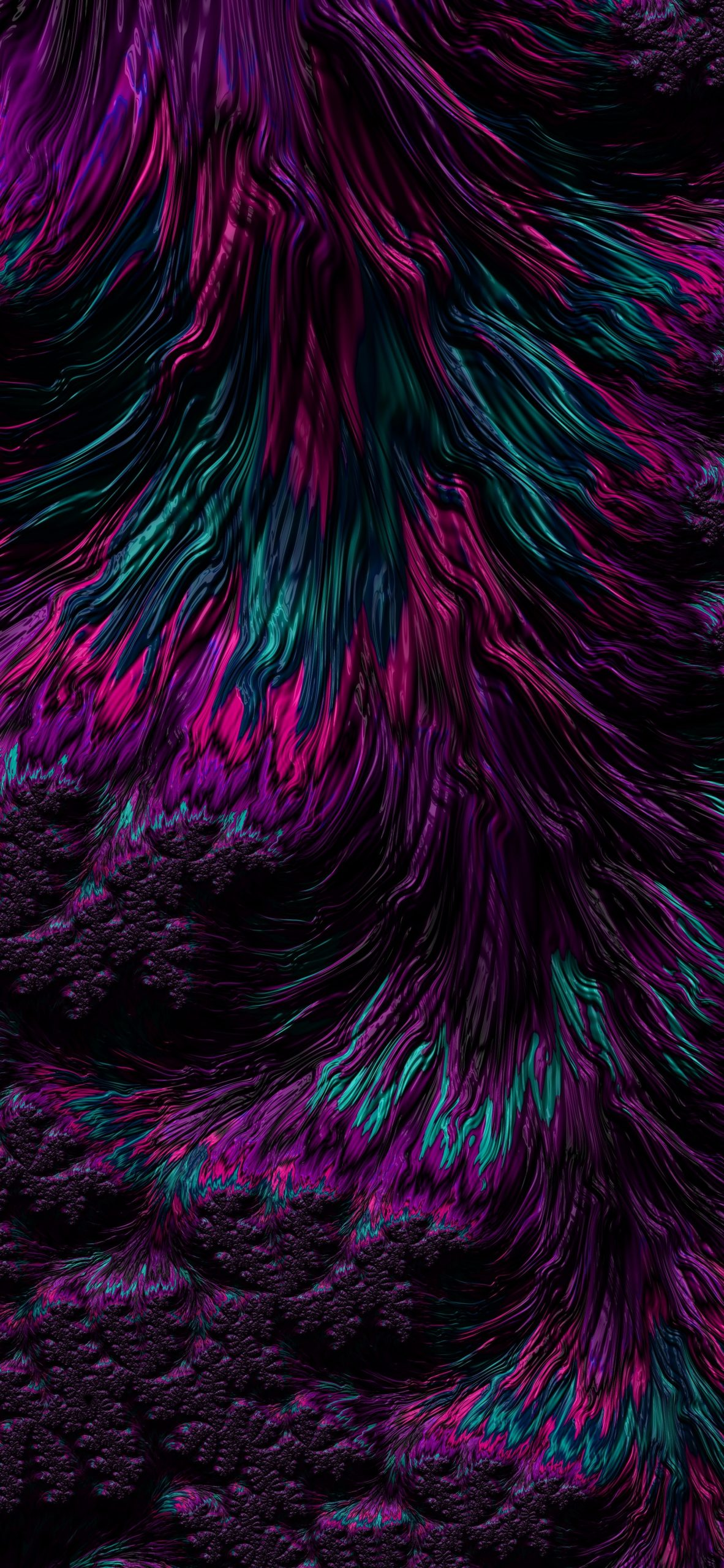 A repeating pattern in purple turquoise black and pink. It is purely decorative