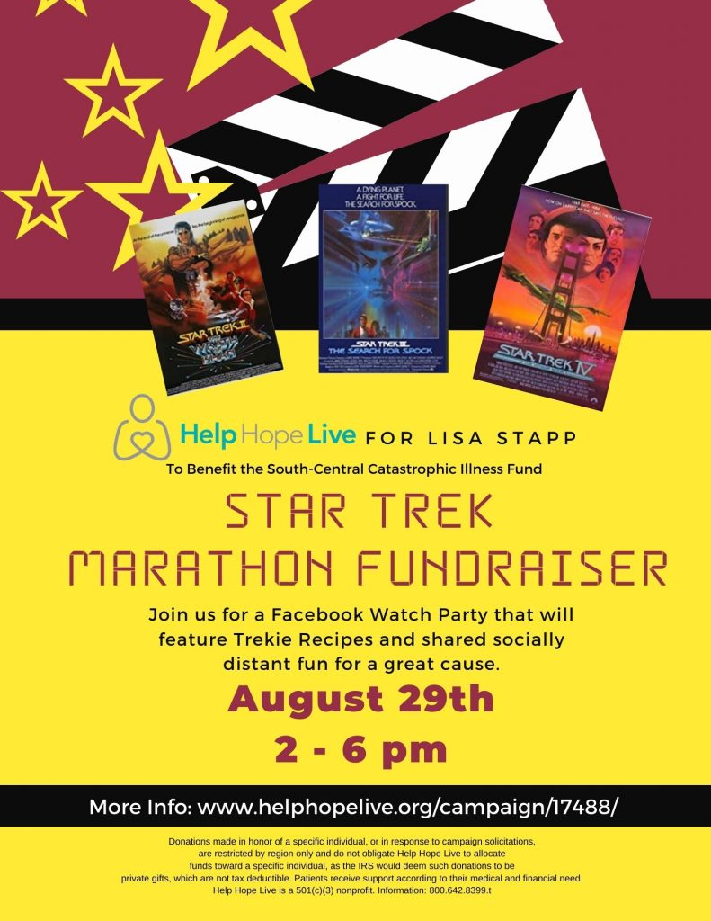 A link to the Star Trek marathon fundraiser https://helphopelive.org/campaign/17488/